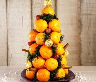 Украшение из мандаринов для новогоднего стола