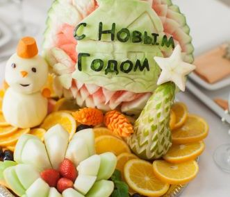 Новогодний карвинг – украшения из овощей и фруктов (1)