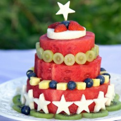 Тортик из арбуза со звёздочками