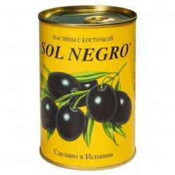 Маслины SOL NEGRO с косточками в железной банке, 480 г